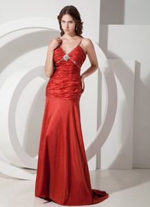 Brush Train Beaded Red Mother of Bride Dress with the Back out