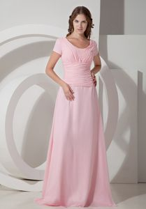 Brush Train Baby Pink Long Mother of The Groom Dress on Sale