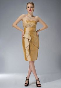 Cheap Sheath Zipper-up Short Gold Mother of the Bride Outfits