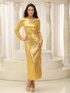 Bateau Neck Long Sleeves Sequins Gold Mother of Bride Dress