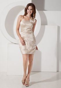 One Shoulder Ruched Champagne Mini Mother of Bride Outfits