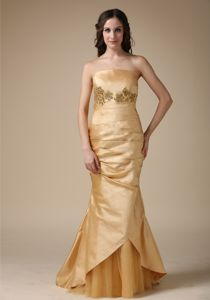 Pretty Mermaid Strapless Lace-up Appliqued Gold Mother of Groom Dresses