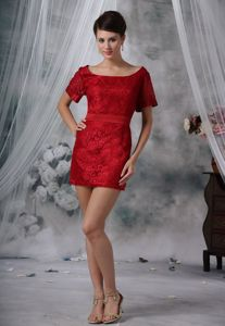 Scoop Short Sleeves Red Lace Mini Mother of The Groom Dress