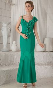 Asymmetrical Neck Turquoise Mother of Bride Dress with Flowers