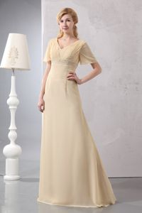 2014 Trendy Short Sleeves Light Yellow Mother of the Bride Outfits