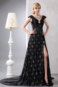 Court Train Slitted Black Lace Mother of Groom Dresses for Formal Prom