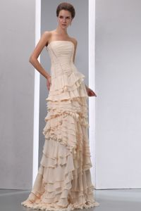 Champagne Strapless Mother of Bride Dress with Ruffled Layers