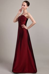 Low Price Straps Ruched Beaded Burgundy Mother of Bride Dress