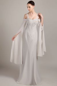 Lace-up Beaded Gray Mother Bride Dresses with Special Neckline