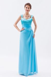 Plus Size Straps Beaded Baby Blue Long Dresses for Bride Mother
