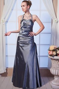 Halter Beaded Gray Long Mother of Bride Dress with The Back Out