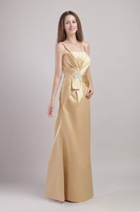Champagne Long Mother of Groom Dress with Spaghetti Straps and Applique