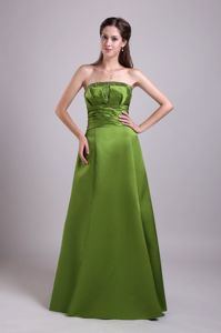 A-line Strapless Beaded Olive Green Long Mother of Bride Dresses