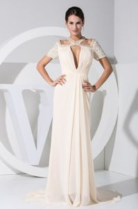 Brush Train Beaded Cream Color Mother of Groom Dresses with Cutouts