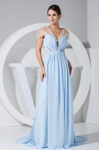 Brush Train Light Blue Mother of Bride Dress with Sheer Neckline
