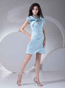 Special Aqua Blue Mother of Bride Dress with Floral Embellishment