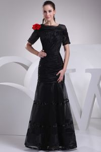 Mermaid Short Sleeves Floor-length Black Mother Bride Dresses