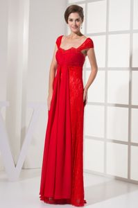 Pretty Cap Sleeves Red Lace Long Mother of Groom Dress for Formal Prom