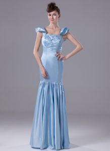 Square Neck Beaded Mother of the Bride Outfits in Light Blue