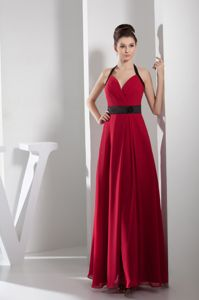 Low Price Column Halter Long Red Mother of the Bride Outfits