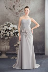 Discount Ruched Beaded Gray Mother of the Groom Dresses for Formal Prom