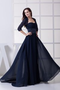 Chiffon Brush Train Navy Blue Mother of Bride Dress with Beading