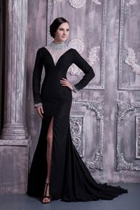 High-neck Long Sleeves Beaded Black Court Train Mother of the Groom Dresses