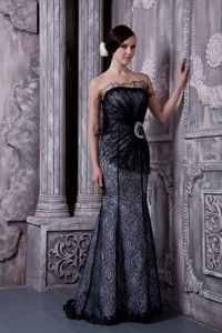 Mermaid Black Long Mother of Bride Dresses with Floral Patterns