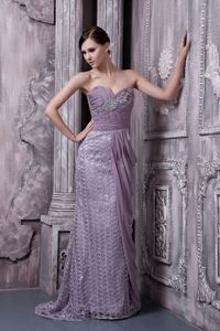 Special Fabric Brush Train Draped Lavender Mother of Bride Dress
