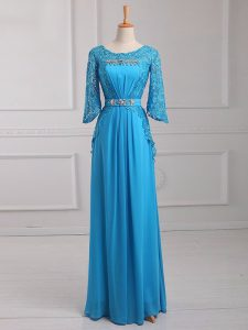 High Quality Baby Blue Scoop Neckline Beading and Lace and Belt Evening Outfits 3 4 Length Sleeve Zipper