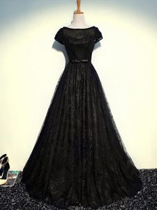 Stunning Black Empire Scoop Short Sleeves Tulle Floor Length Zipper Beading and Lace and Belt Mother of Bride Dresses