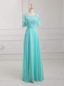 Floor Length Zipper Mother Of The Bride Dress Aqua Blue for Prom and Military Ball and Beach with Lace and Appliques