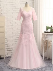 Glamorous Baby Pink Half Sleeves Tulle Zipper Mother of the Bride Dress for Prom and Military Ball and Beach