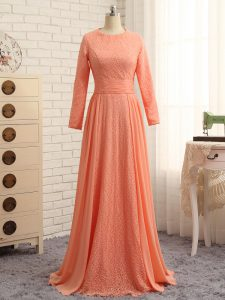 Orange Zipper Mother Of The Bride Dress Lace Long Sleeves Floor Length