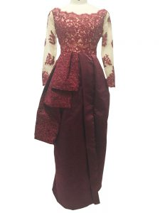 Chic Floor Length Column/Sheath Long Sleeves Burgundy Mother Of The Bride Dress Zipper