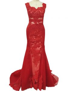 Red Tulle Zipper Square Sleeveless Mother of Bride Dresses Brush Train Lace