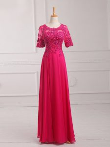 Stylish Half Sleeves Zipper Floor Length Lace and Appliques Mother Dresses
