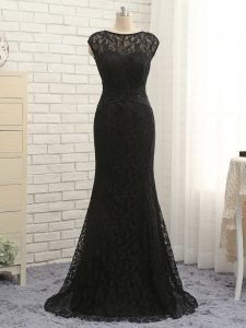 Best Selling Scoop Sleeveless Zipper Mother Of The Bride Dress Black Lace