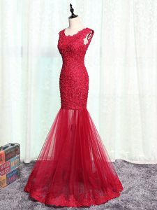 Stunning Sleeveless Zipper Floor Length Lace and Appliques Mother Of The Bride Dress