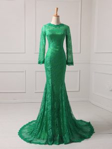 Green Zipper Scoop Lace Mother of the Bride Dress Lace Long Sleeves Brush Train