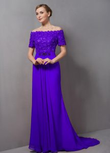 Purple Mother Of The Bride Dress Prom and Party with Lace Off The Shoulder Short Sleeves Sweep Train Zipper