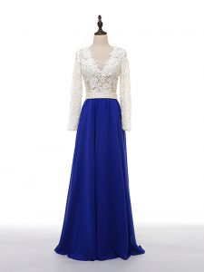 Noble Blue And White Chiffon Zipper Evening Party Dresses Long Sleeves Floor Length Lace and Appliques