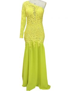 Yellow One Shoulder Side Zipper Lace and Appliques Mother Of The Bride Dress Brush Train Long Sleeves