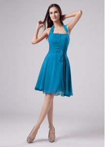 Teal Zipper Mother Of The Bride Dress Belt Sleeveless Knee Length