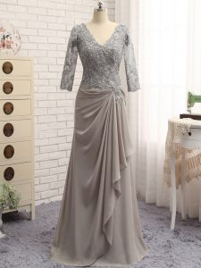 Perfect V-neck Long Sleeves Zipper Mother Of The Bride Dress Grey Chiffon