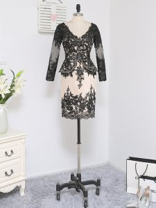 Black Long Sleeves Mini Length Lace and Appliques Zipper Mother Of The Bride Dress
