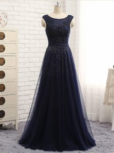 Sweet Floor Length Zipper Evening Dress Navy Blue for Prom and Party and Sweet 16 with Beading