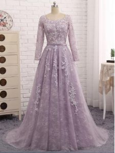 Scoop Sleeveless Mother Of The Bride Dress Brush Train Beading and Appliques Lavender Tulle