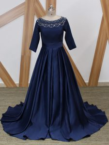 Free and Easy Navy Blue 3 4 Length Sleeve Brush Train Beading Mother Of The Bride Dress