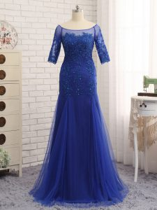 Superior Royal Blue Mother Dresses Tulle Half Sleeves Lace and Appliques